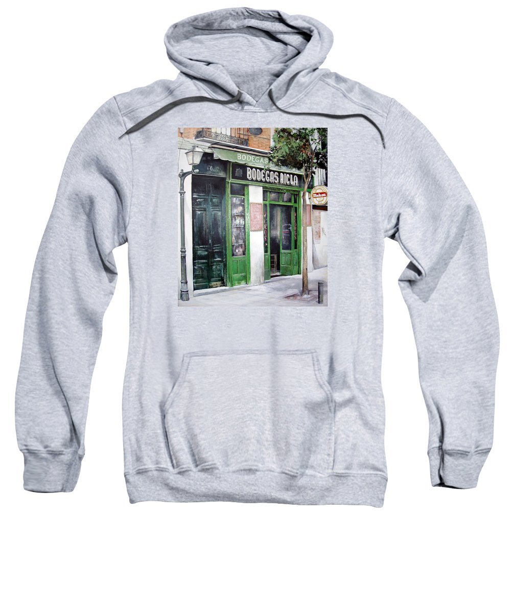 Bodegas Sweatshirt featuring the painting Old Tavern-madrid by Tomas Castano