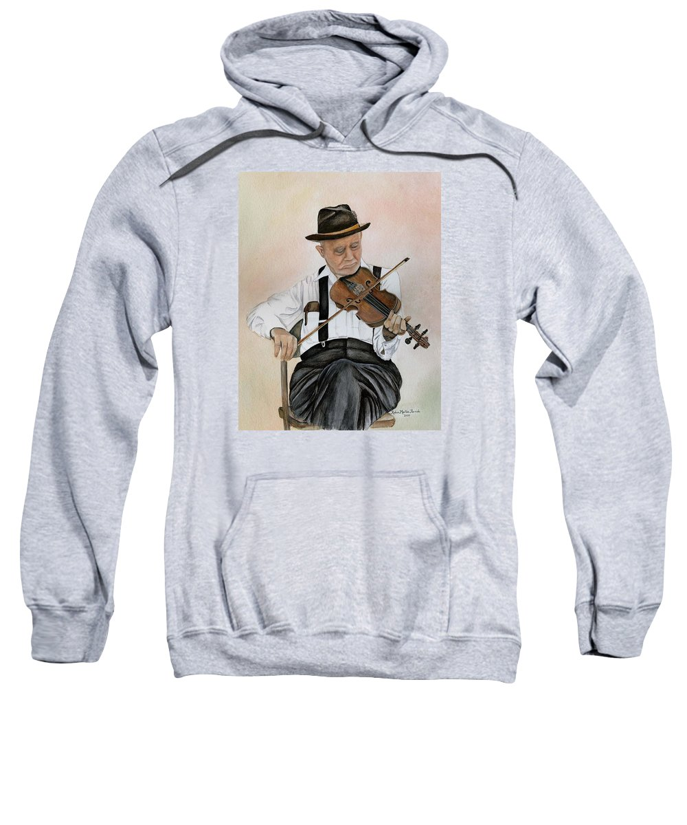 Fiddle Sweatshirt featuring the painting Old Time Fiddler by Robin Martin Parrish