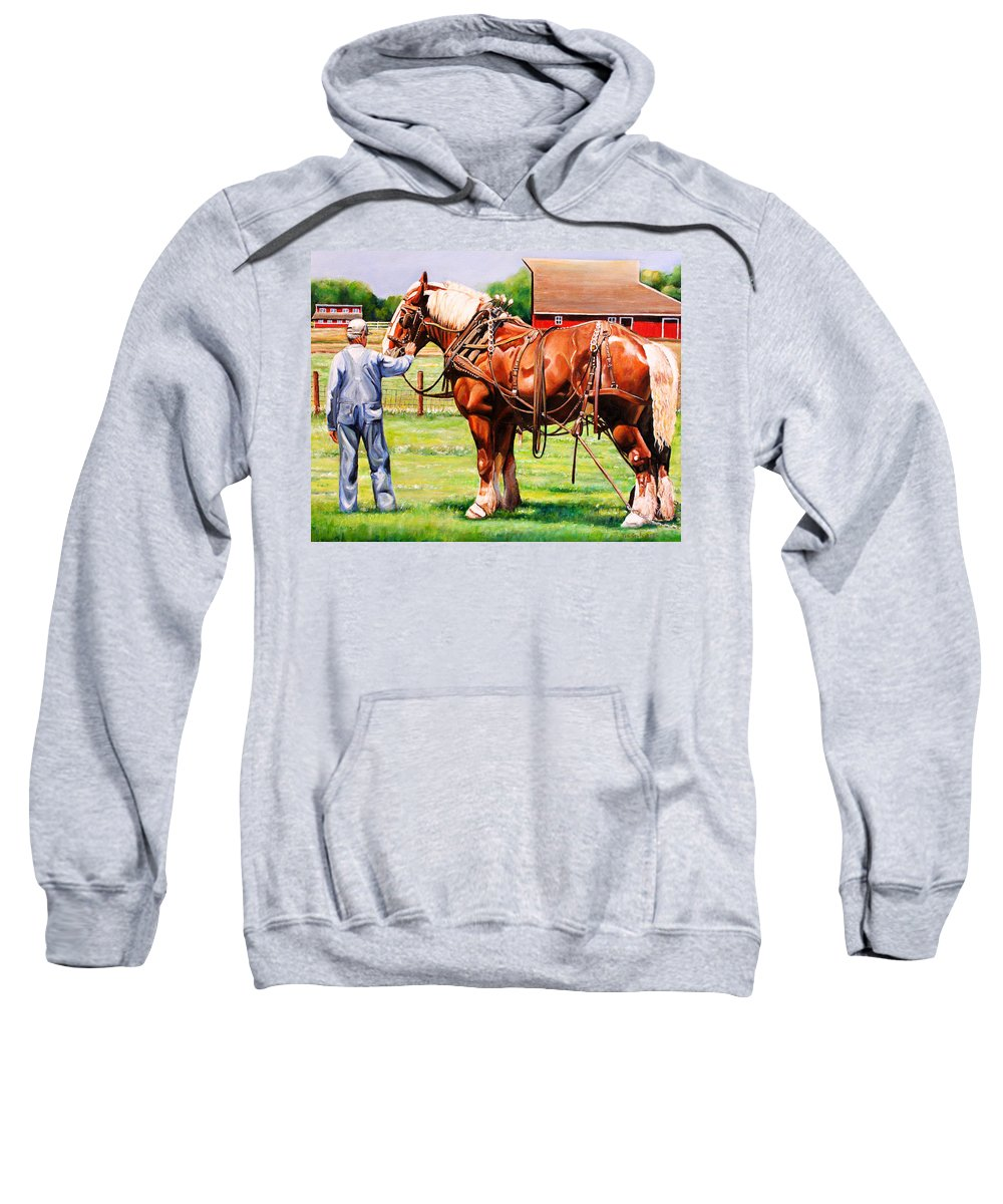 Belgian Sweatshirt featuring the painting Old Timers by Toni Grote