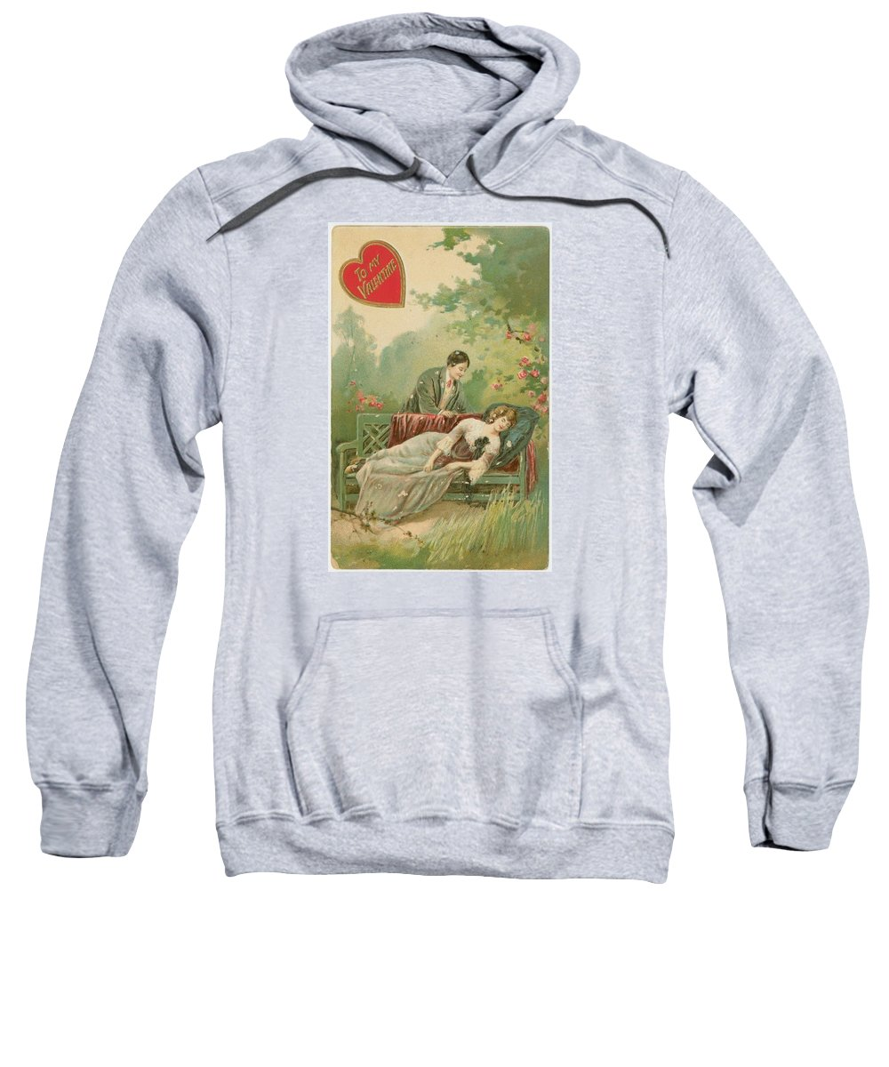 Old Victorian Era Valentine Card Sweatshirt featuring the painting Old Victorian Era Valentine Card by Pd