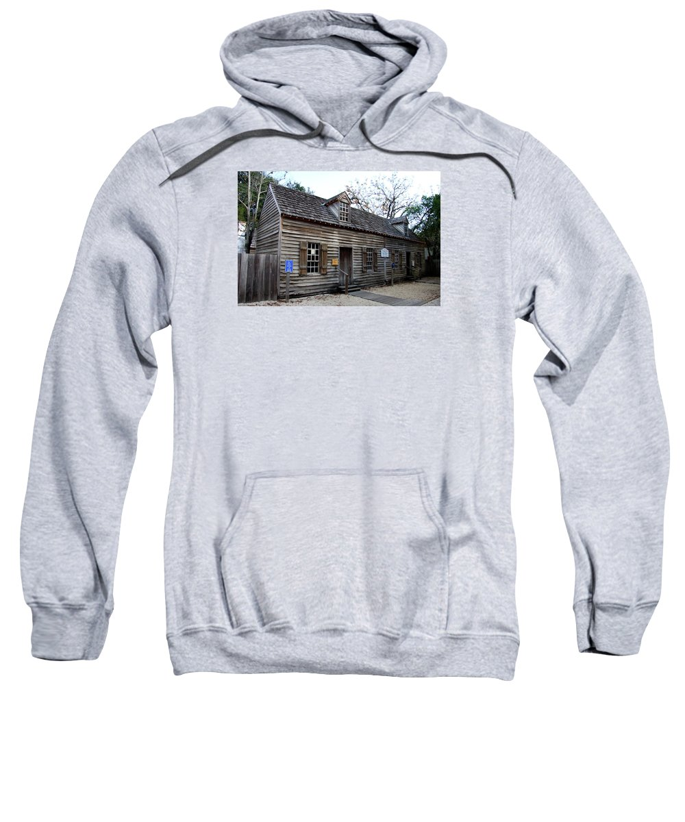 Wooden House Sweatshirt featuring the photograph Old Wine Store - St Augustine by Christiane Schulze Art And Photography