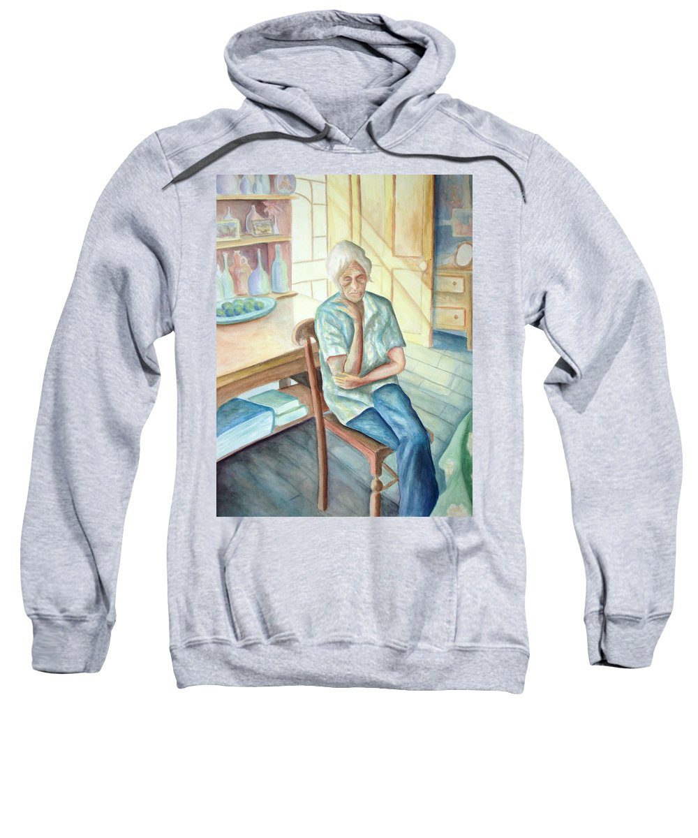 Woman Sweatshirt featuring the painting Old Woman by Nancy Mueller