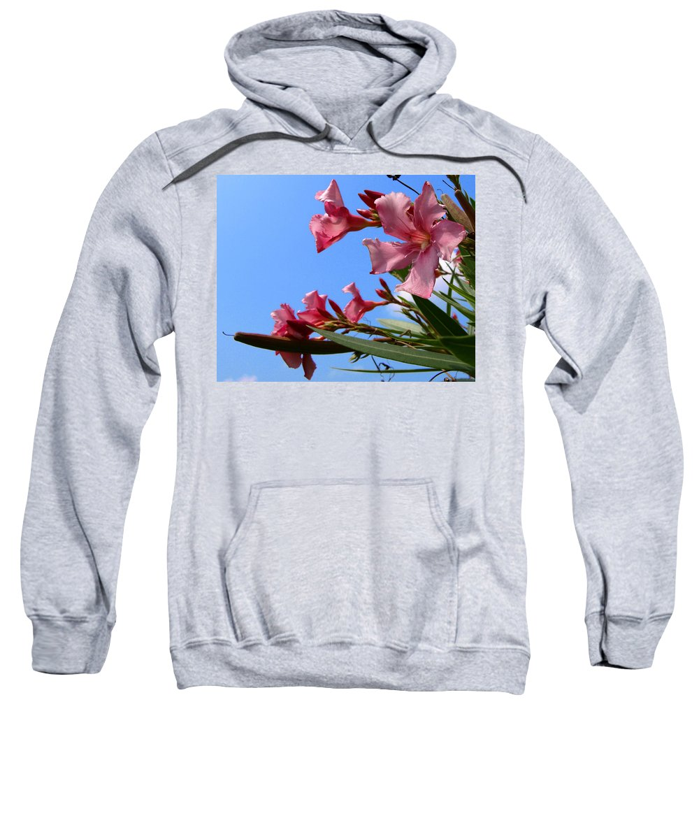 Flower; Florida; Oleander; Purple; Pink; Lavander; Sky; Blue; Clouds; Drought; Leaves; Green; South; Sweatshirt featuring the photograph Oleander Flowers Wilting In The Brutal Florida Sun by Allan Hughes