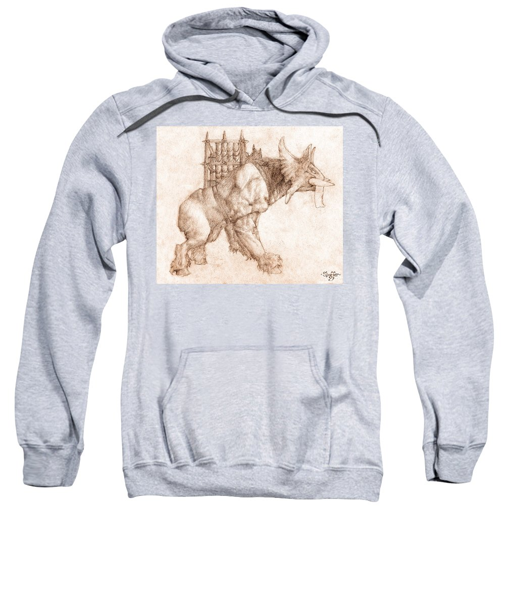 Lord Of The Rings Sweatshirt featuring the drawing Oliphaunt by Curtiss Shaffer