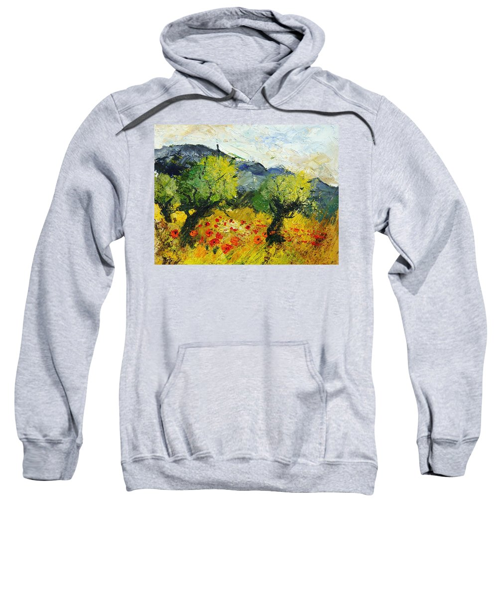 Flowers Sweatshirt featuring the painting Olive Trees And Poppies by Pol Ledent