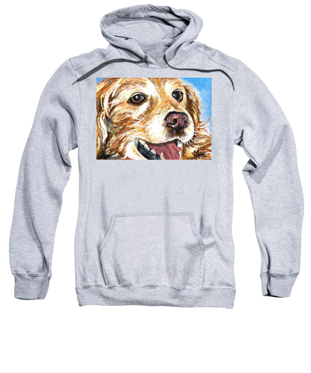 Charity Sweatshirt featuring the painting Oliver From Muttville by Mary-Lee Sanders
