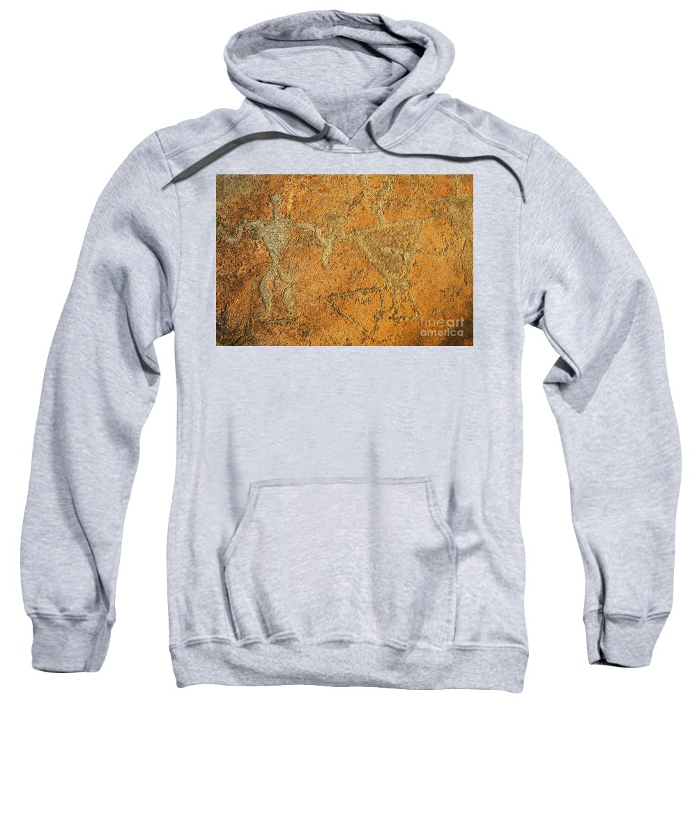 Ancient Sweatshirt featuring the photograph Olowalu Petroglyphs by MakenaStockMedia - Printscapes