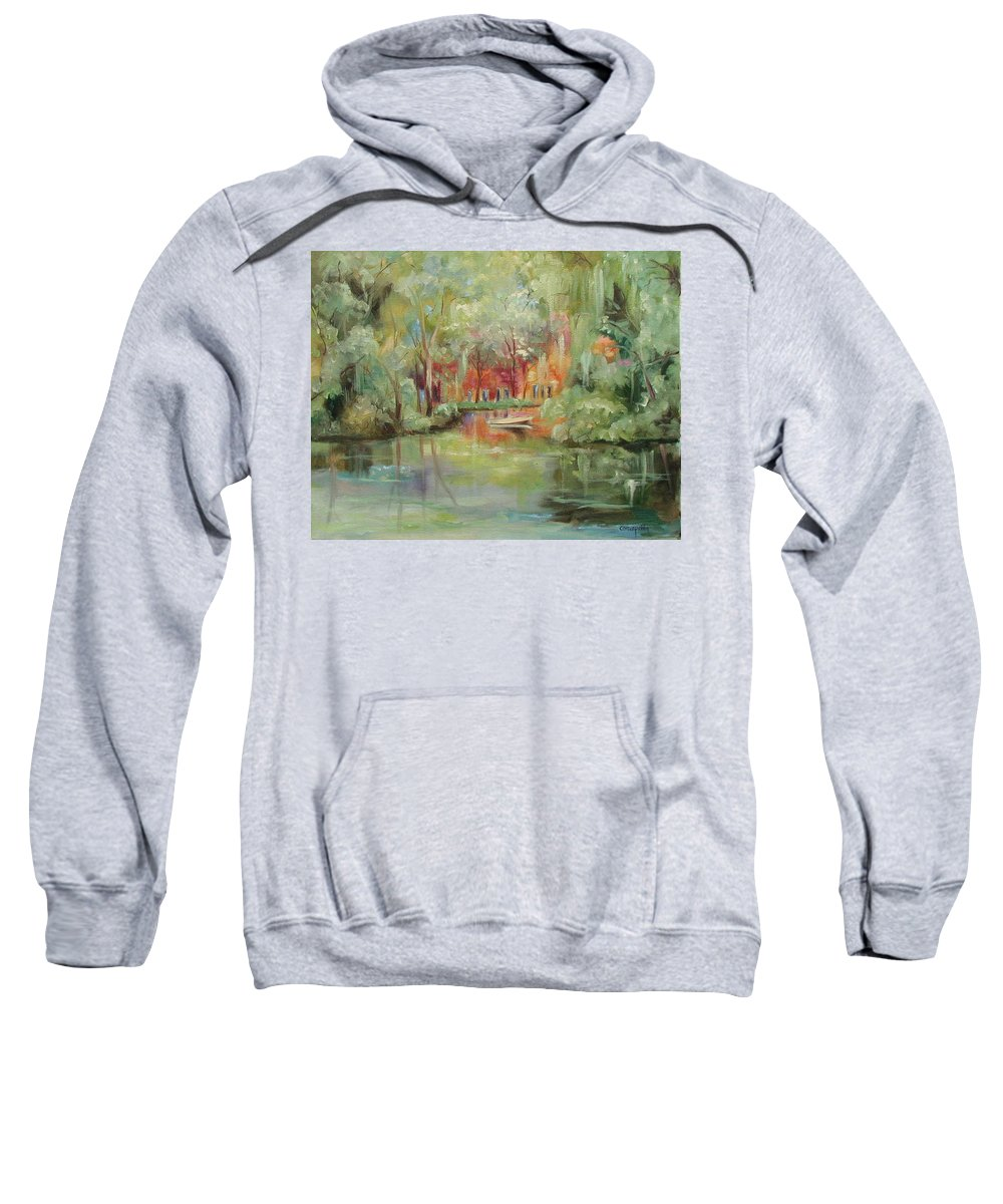 Bayou Sweatshirt featuring the painting On A Bayou by Ginger Concepcion