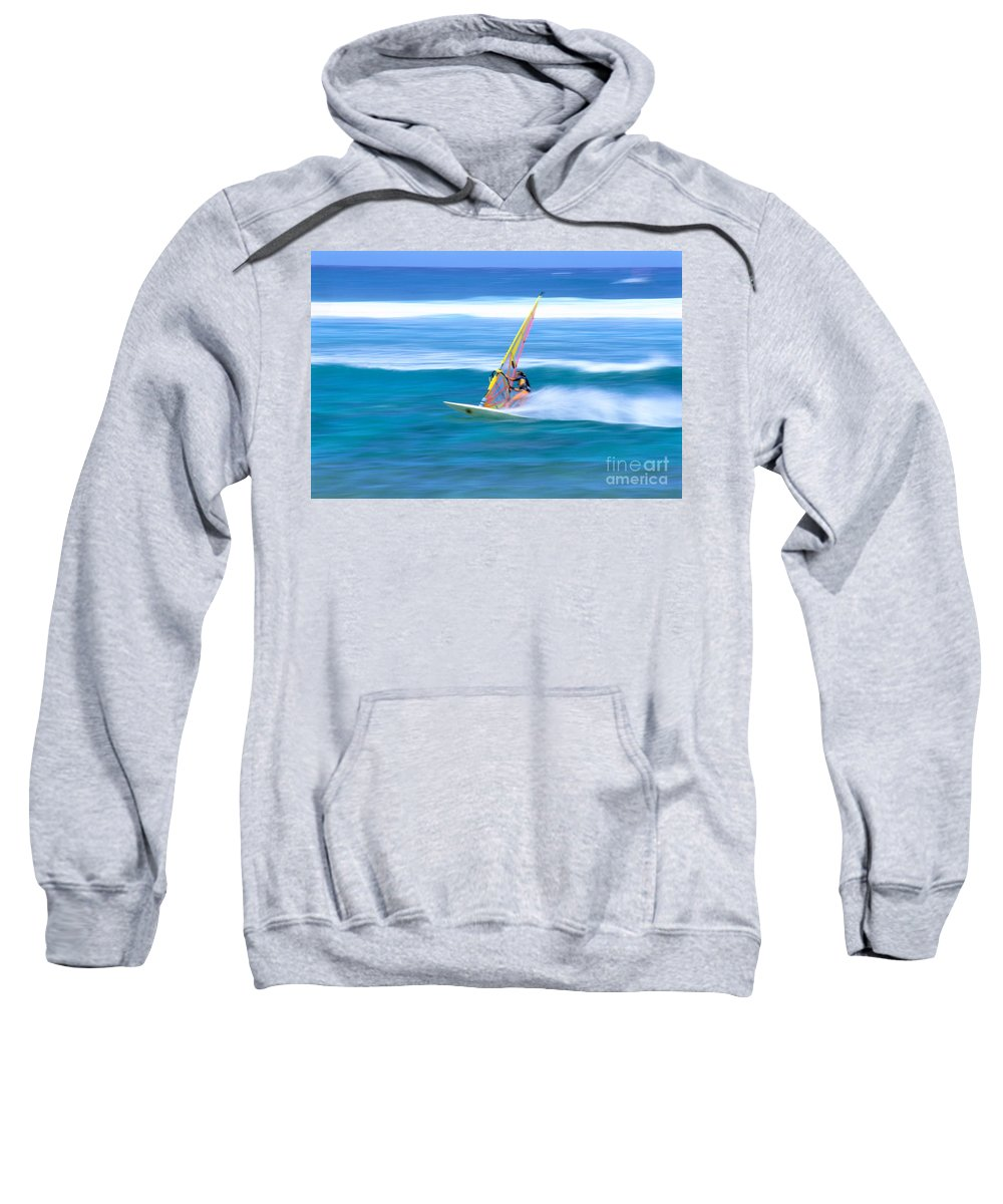 Adrenaline Sweatshirt featuring the photograph On A Calm Blue Ocean by Bill Brennan - Printscapes
