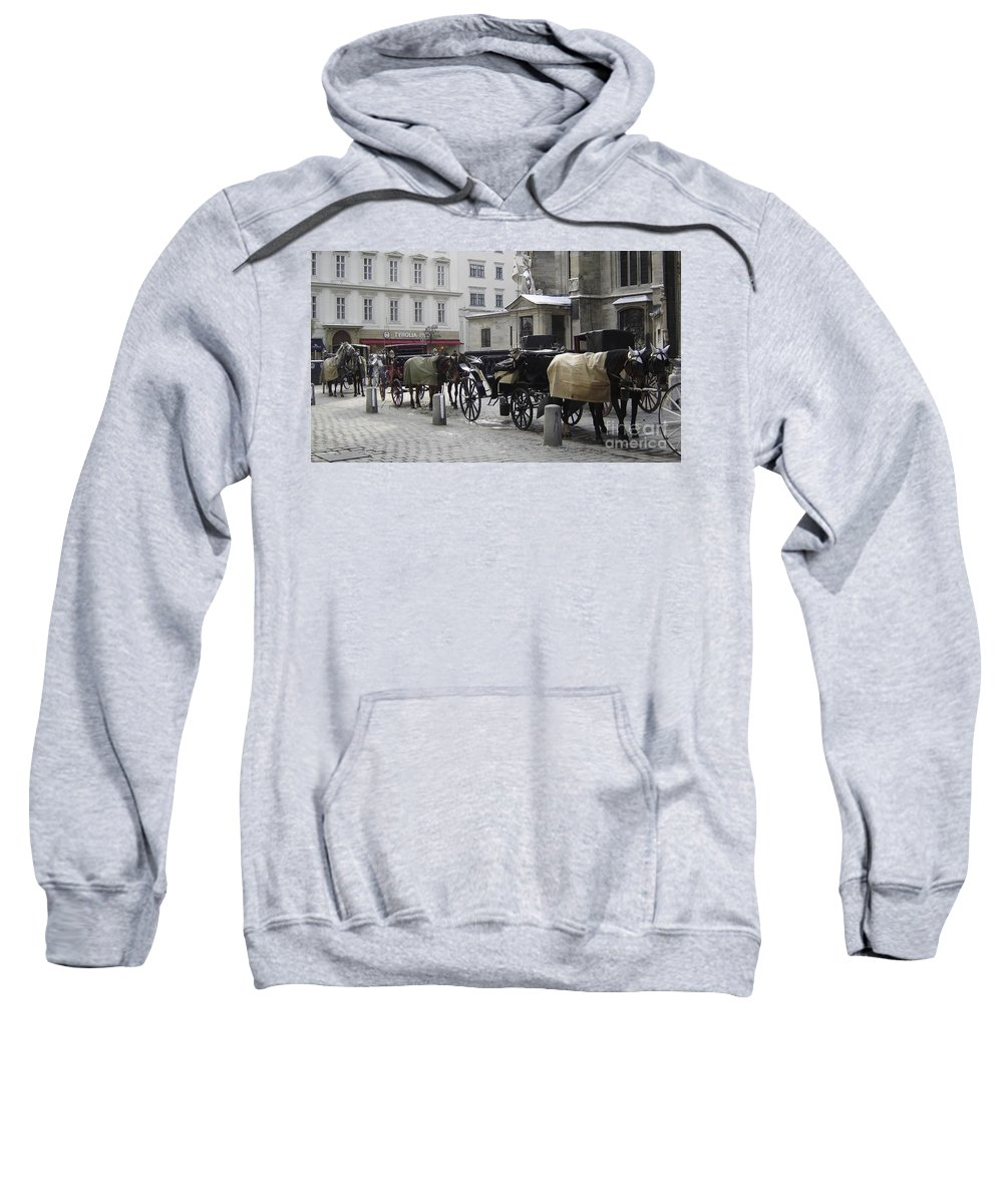 Horses Sweatshirt featuring the photograph On Call by Mary Rogers