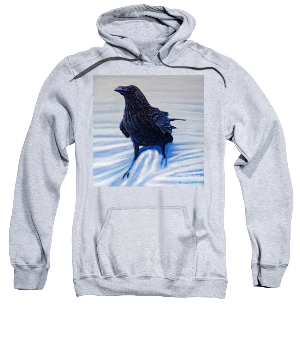 Raven Sweatshirt featuring the painting On Canyon Road by Brian Commerford