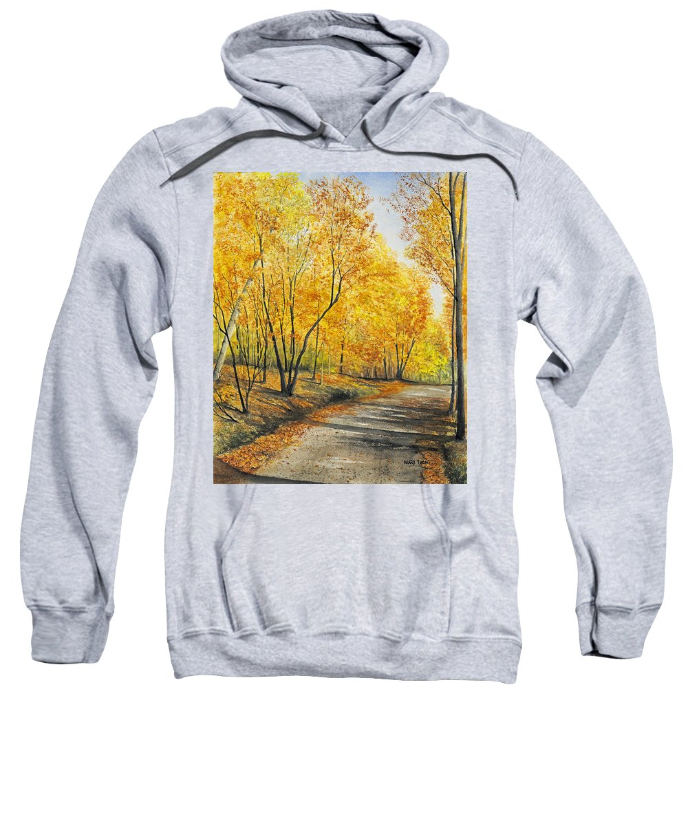 Autumn Sweatshirt featuring the painting On Golden Road by Mary Tuomi