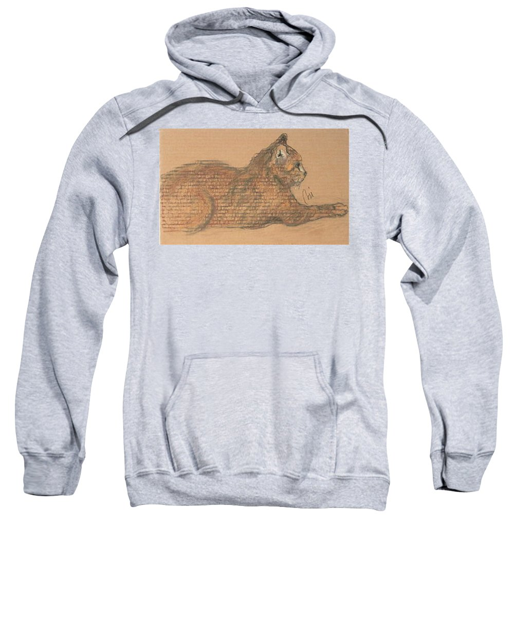 Cat Sweatshirt featuring the drawing On Point by Cori Solomon