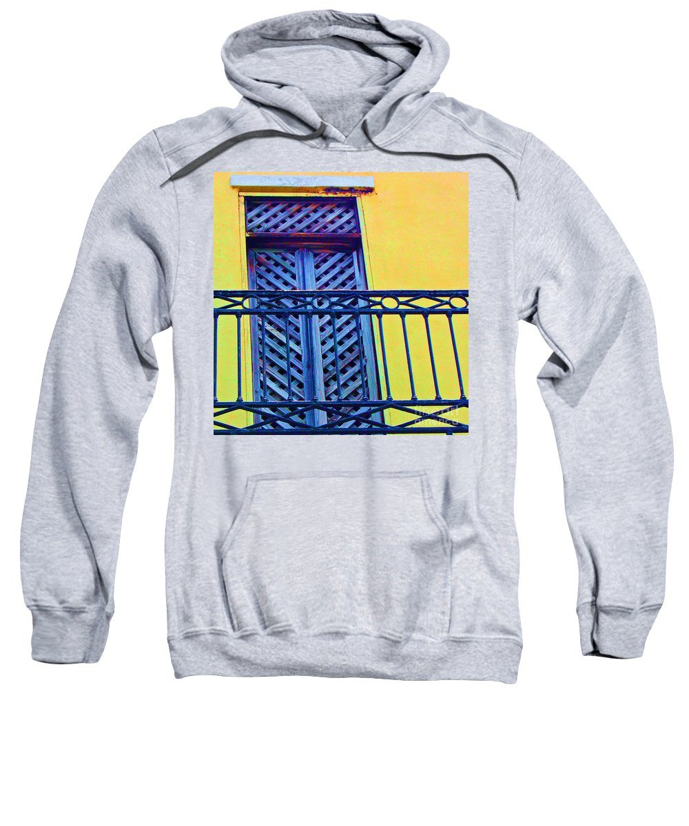Balcony Sweatshirt featuring the photograph On The Balcony by Debbi Granruth