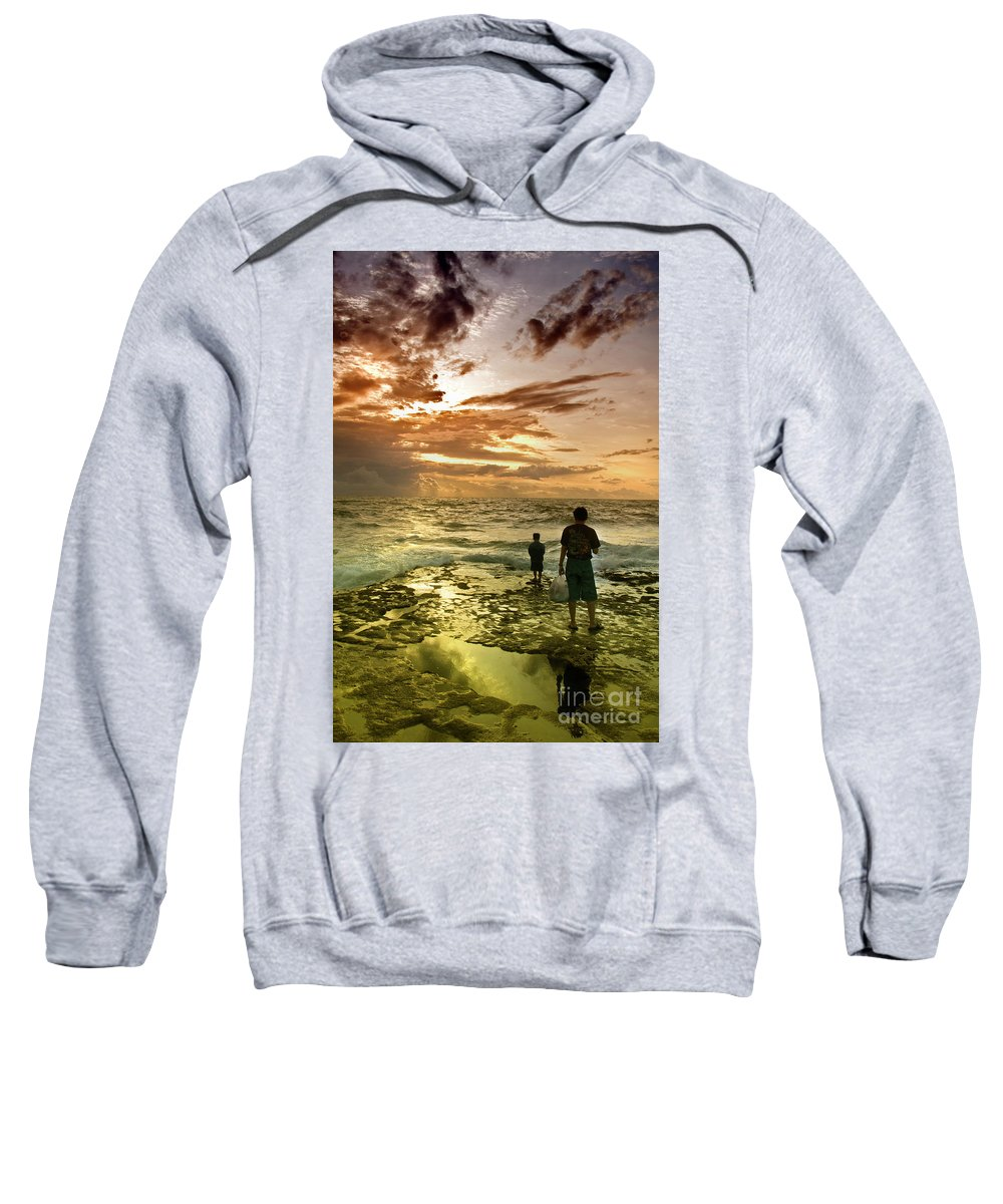 Sweatshirt featuring the photograph On The Beach by Charuhas Images