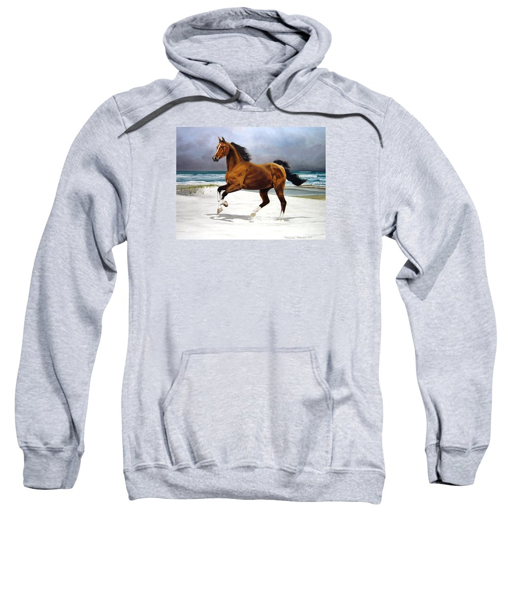 Horse Sweatshirt featuring the painting On The Beach by Marc Stewart