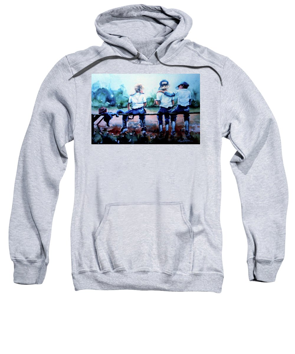 Boys Baseball Sweatshirt featuring the painting On The Bench by Hanne Lore Koehler