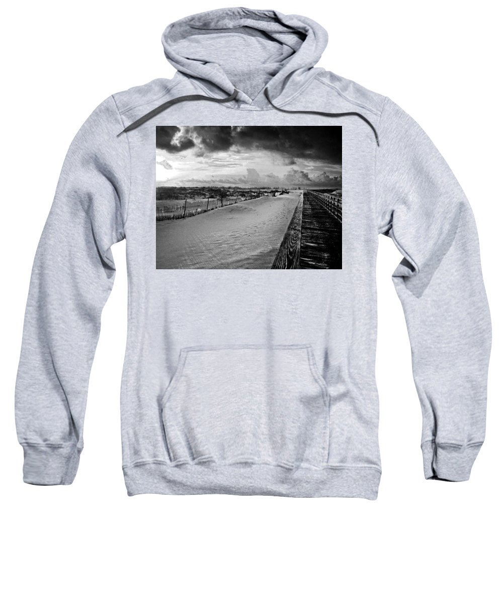 Pelican Sweatshirt featuring the painting On The Boardwalk by Michael Thomas