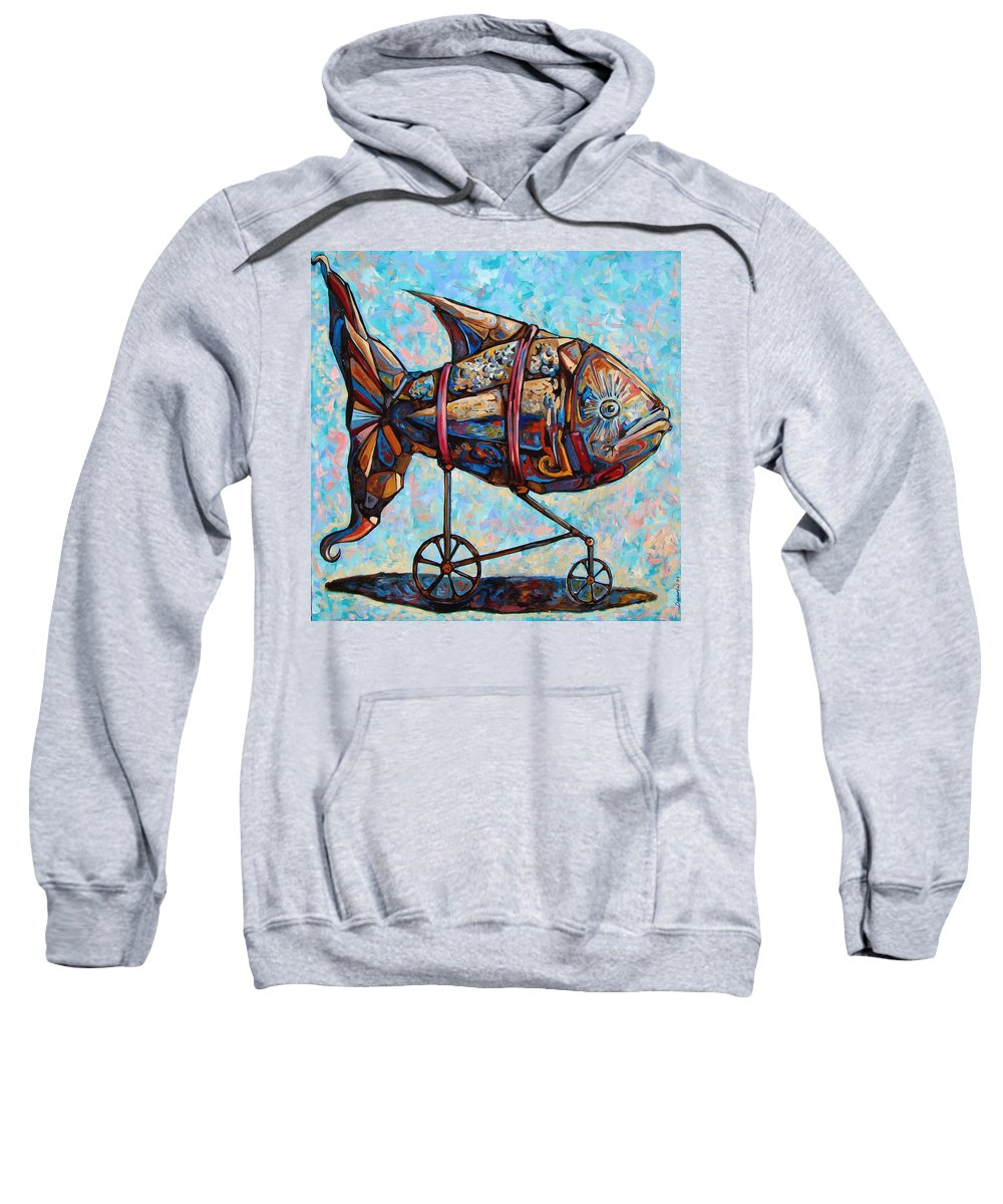 Surrealism Sweatshirt featuring the painting On The Conquer For Land by Darwin Leon