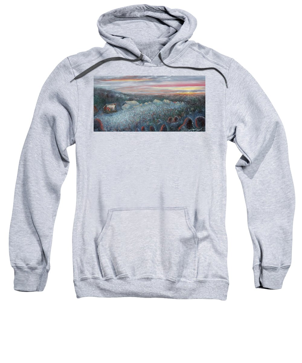Greyfox Bluegrass Festival Sweatshirt featuring the painting On The Hill At Greyfox by Kathleen Gaddis