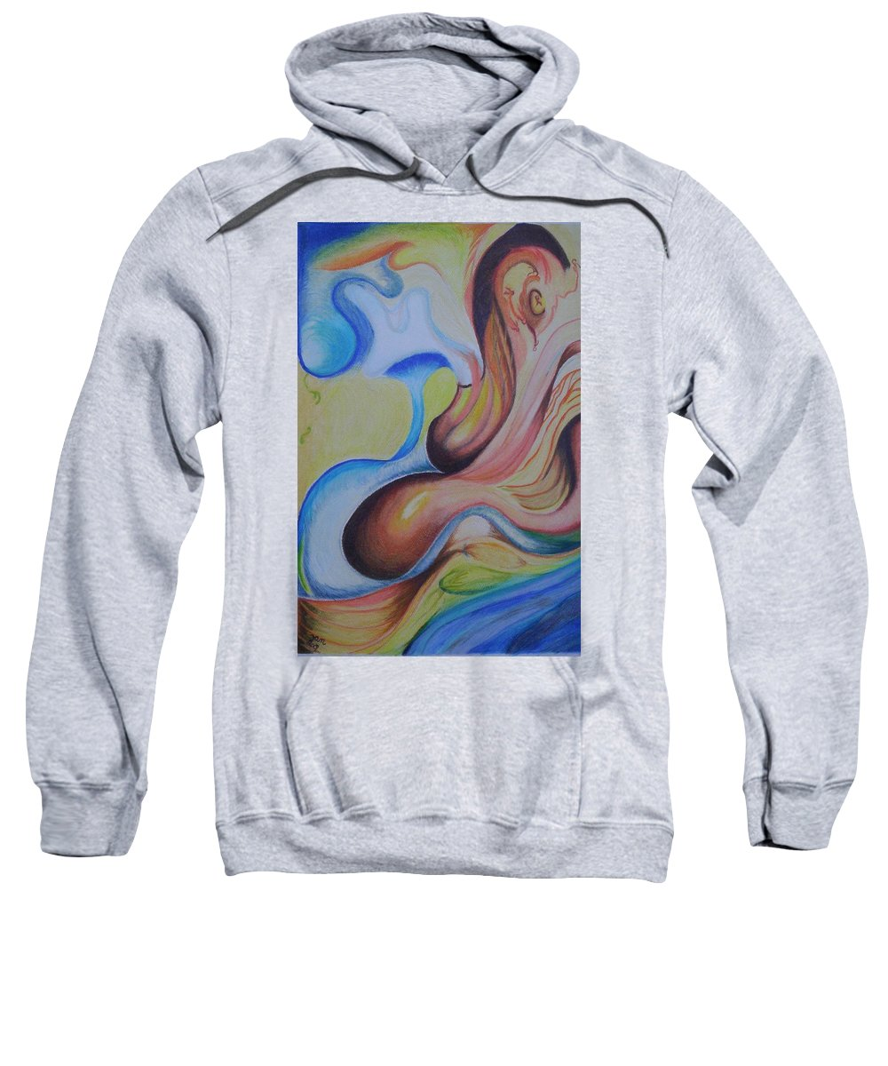 Abstract Sweatshirt featuring the painting On The Island by Suzanne Udell Levinger