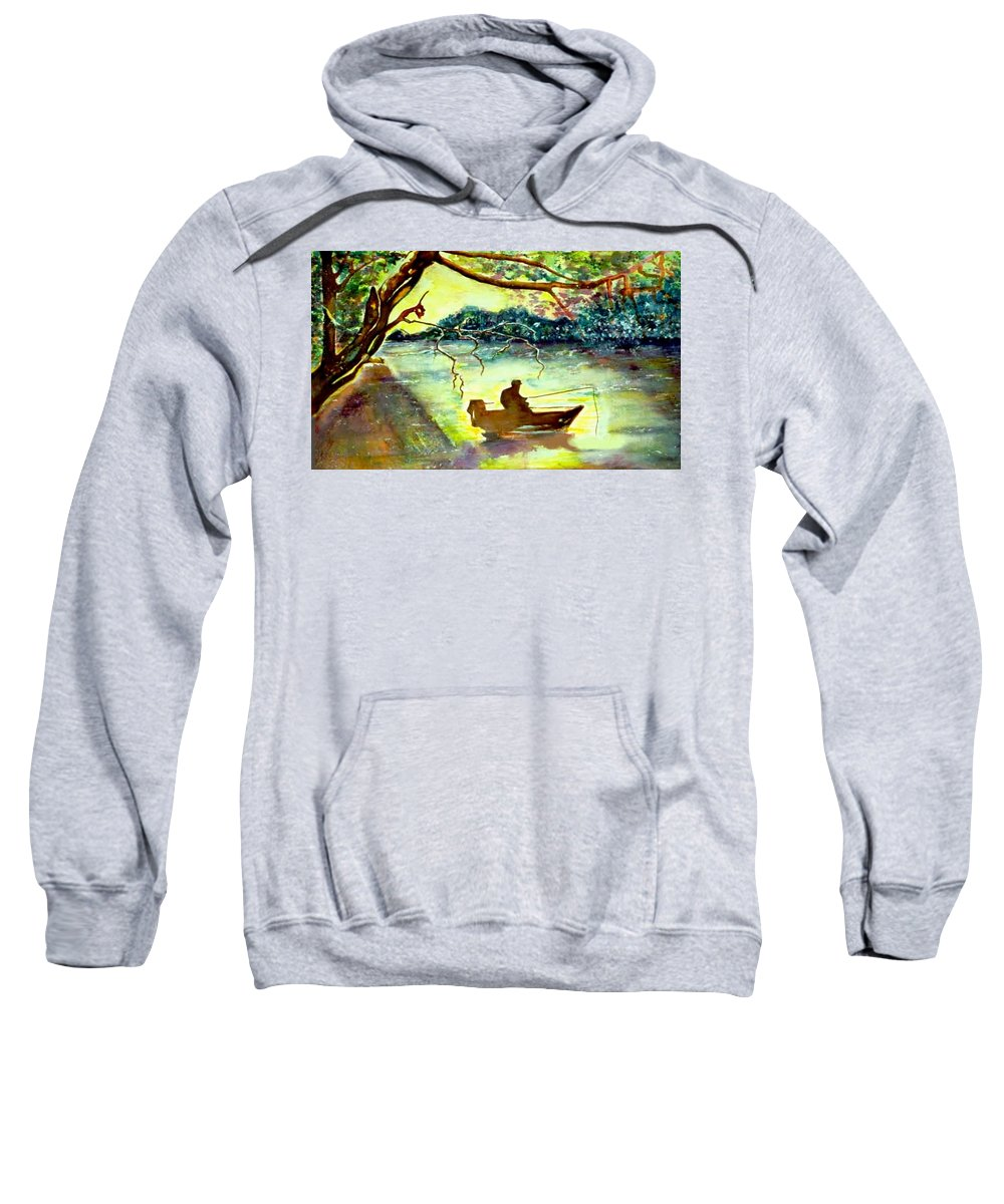 Water Scene Sweatshirt featuring the painting On The River by Norma Boeckler