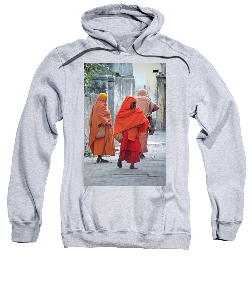 Sadhu Sweatshirt featuring the photograph On The Way To Morning Prayers - India by Kim Bemis