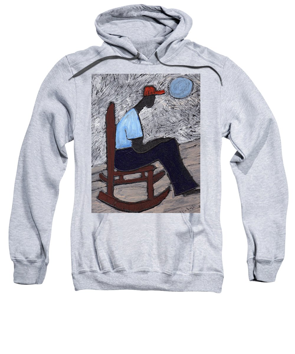 Rocking Chair Sweatshirt featuring the painting Once In A Blue Moon by Wayne Potrafka
