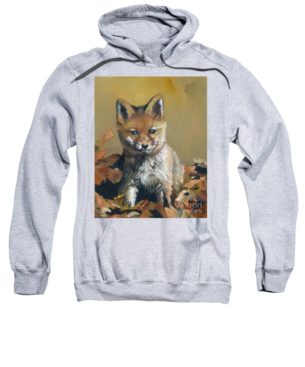 Fox Sweatshirt featuring the painting Once Upon A Time by J W Baker