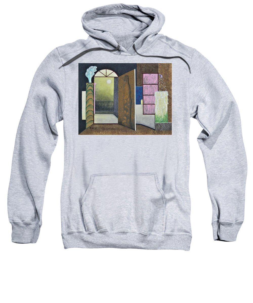 Romantic Sweatshirt featuring the painting One Moonlit Night- J-16 by Raju Bose