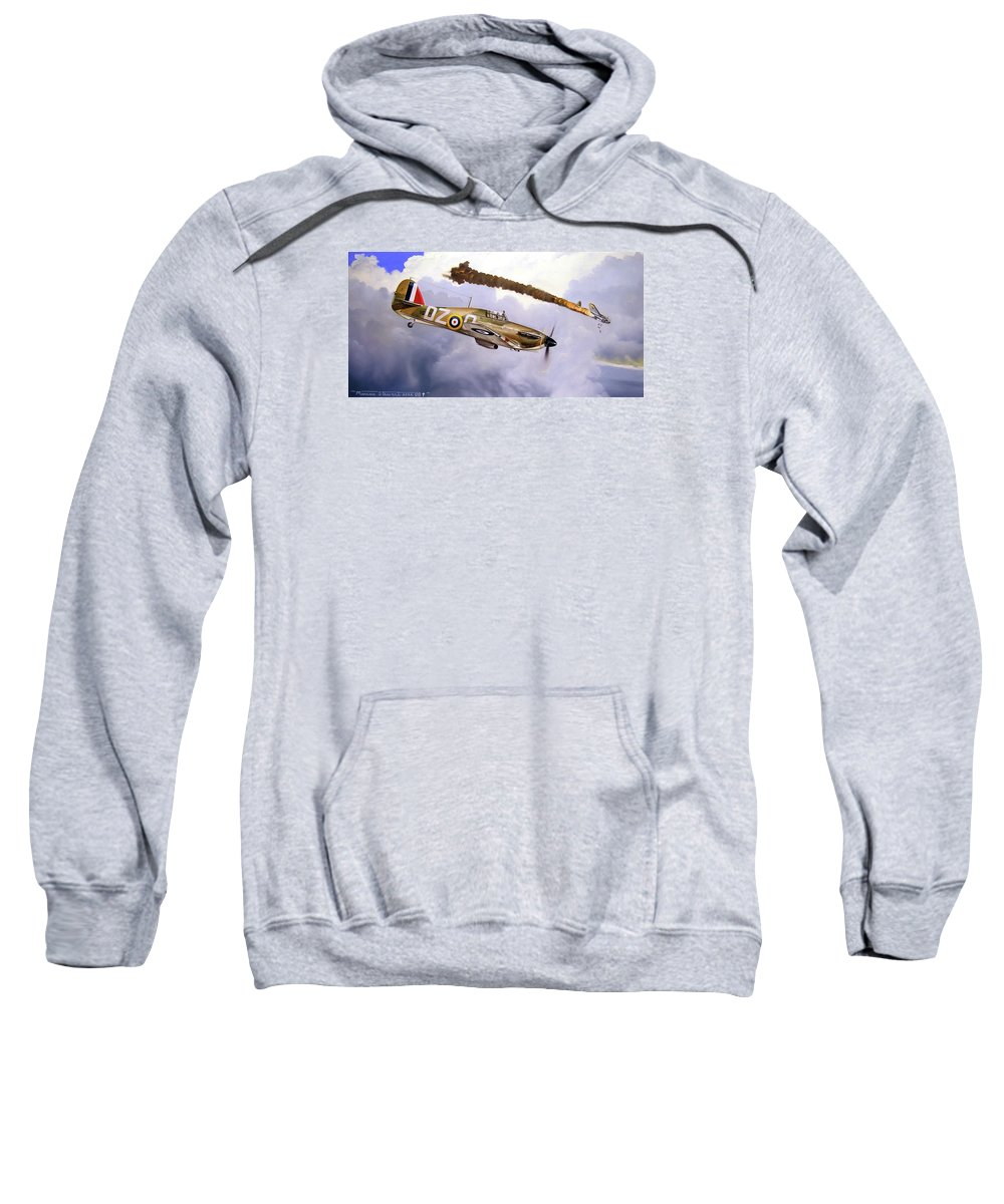 Aviation Art Sweatshirt featuring the painting One of the Few by Marc Stewart