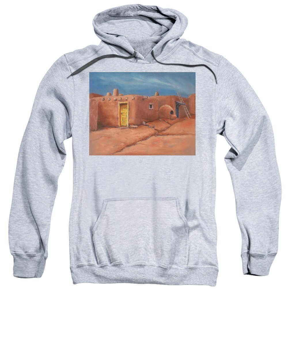 Taos Sweatshirt featuring the painting One Yellow Door by Jerry McElroy