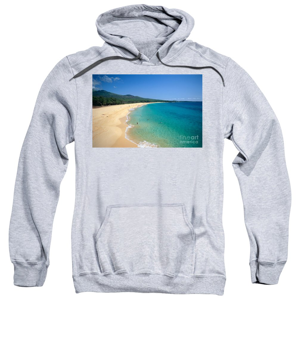 Above Sweatshirt featuring the photograph Oneloa Beach by Rita Ariyoshi - Printscapes