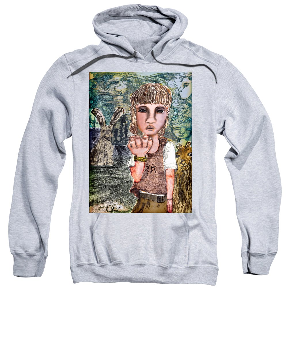 Girl Sweatshirt featuring the mixed media Only by Cynthia Richards