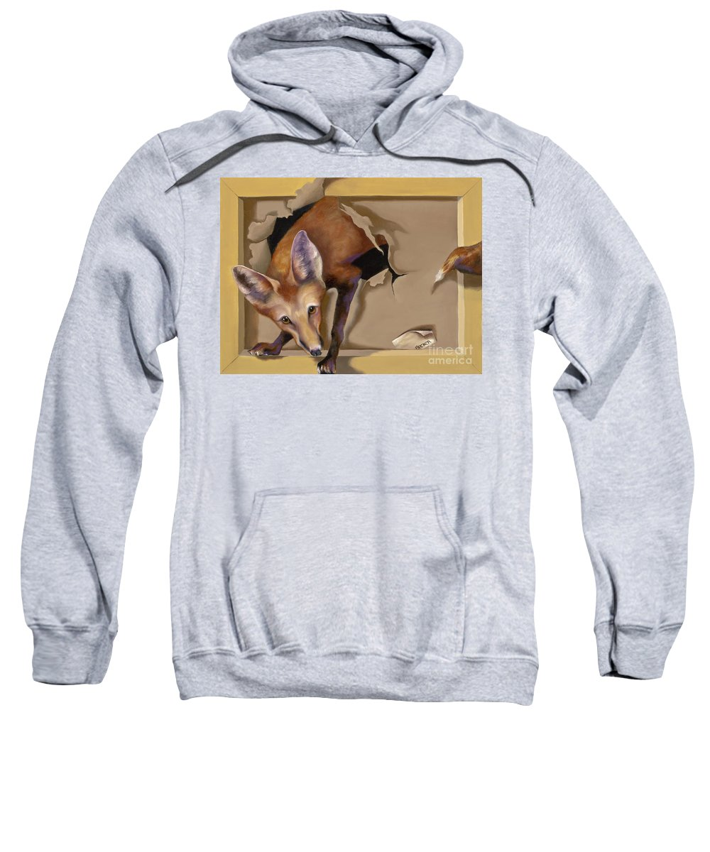Trompe Loeil Sweatshirt featuring the painting Oops I Was Looking For The Hen House by Susan A Becker