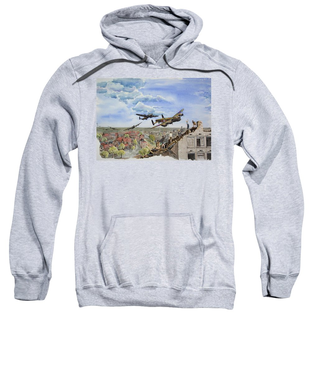 Lancaster Bomber Sweatshirt featuring the painting Operation Manna I by Gale Cochran-Smith