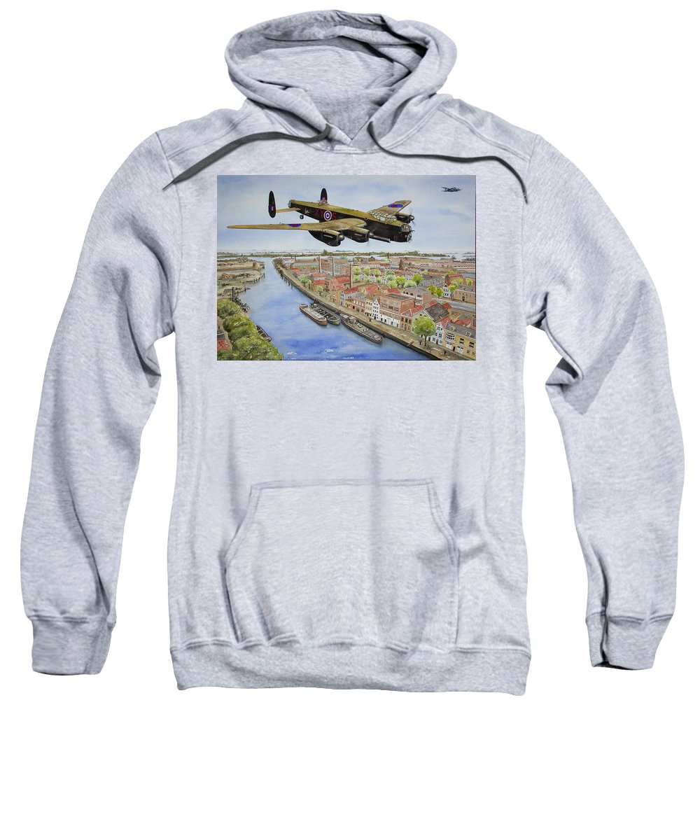 Lancaster Bomber Sweatshirt featuring the painting Operation Manna II by Gale Cochran-Smith
