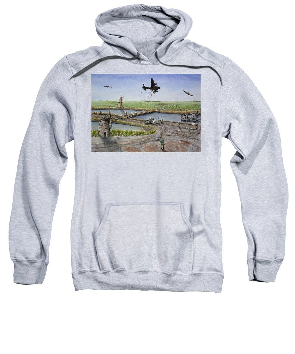 Lancaster Bomber Sweatshirt featuring the painting Operation Manna IIi by Gale Cochran-Smith