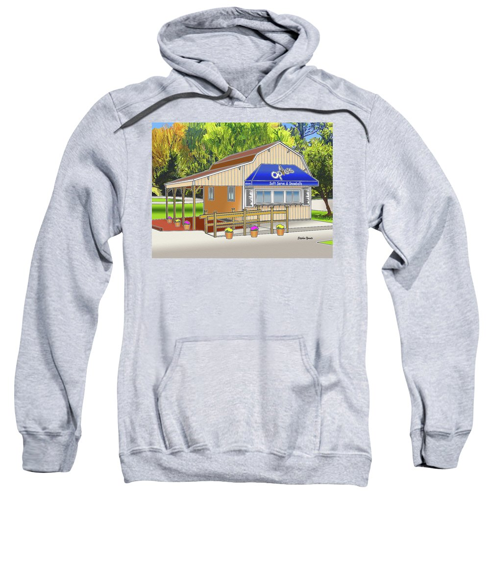 Catonsville Sweatshirt featuring the digital art Opie's Snowball Stand by Stephen Younts