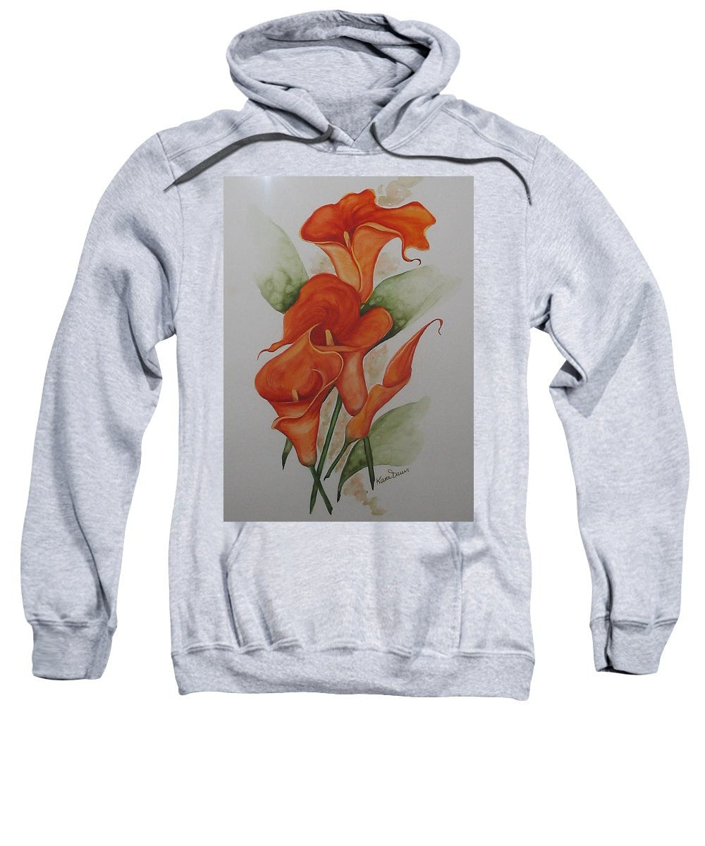 Floral Orange Lily Sweatshirt featuring the painting Orange Callas by Karin Dawn Kelshall- Best