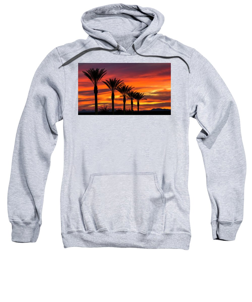 Sunset Sweatshirt featuring the photograph Orange Dream Palm Sunset by Saija Lehtonen