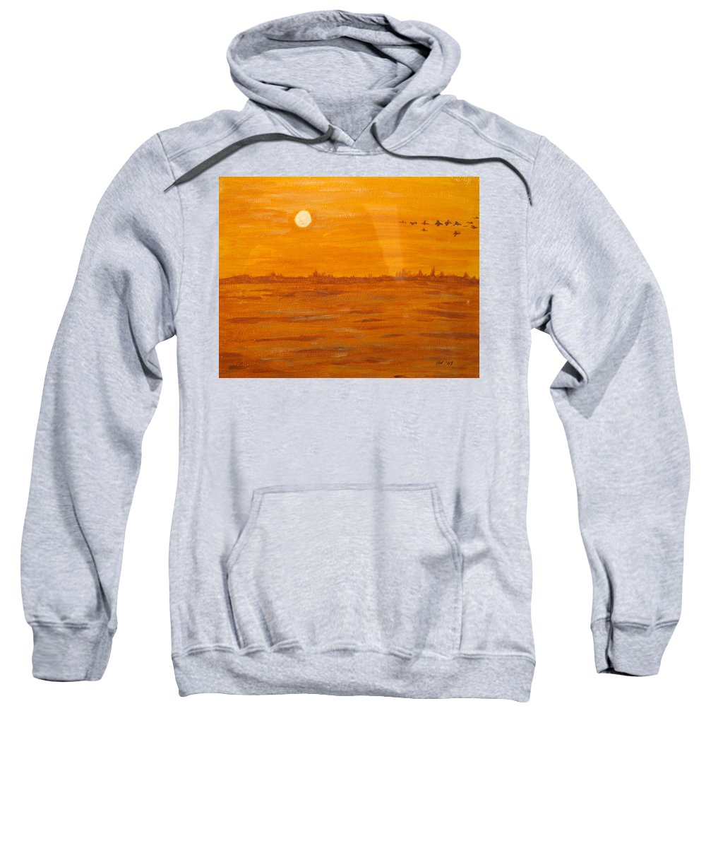 Orange Sweatshirt featuring the painting Orange Ocean by Ian MacDonald