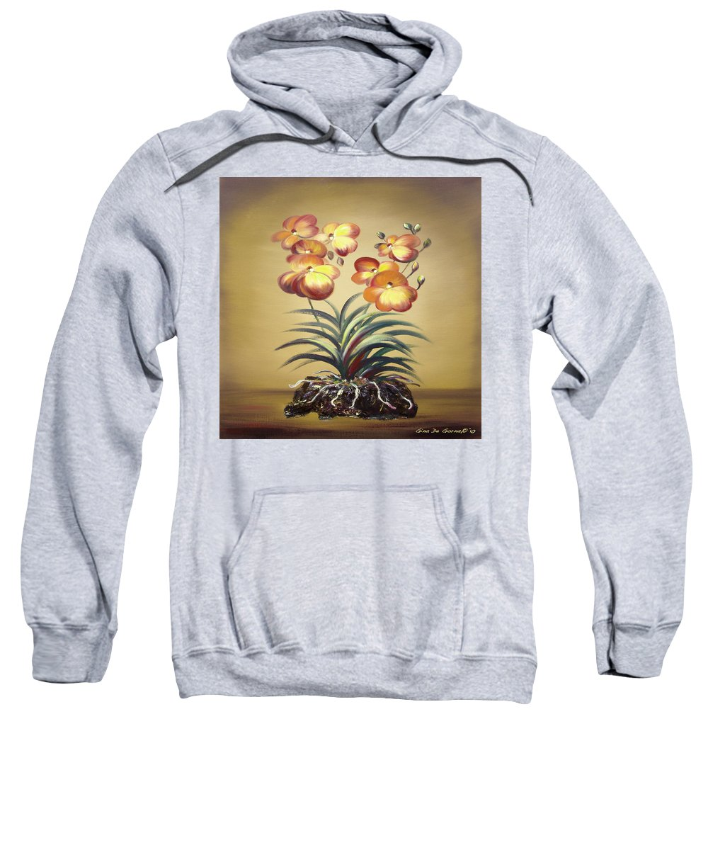 Orange Sweatshirt featuring the painting Orange Orchid Flowers by Gina De Gorna