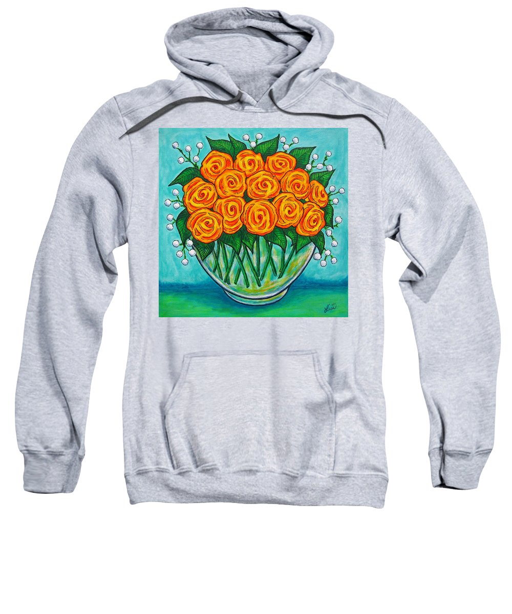 Orange Sweatshirt featuring the painting Orange Passion by Lisa Lorenz