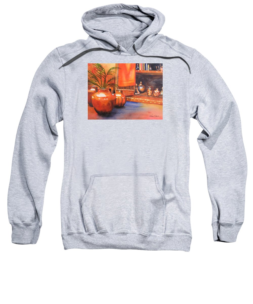 Pottery Sweatshirt featuring the painting Orange Scarf by Karen Stark