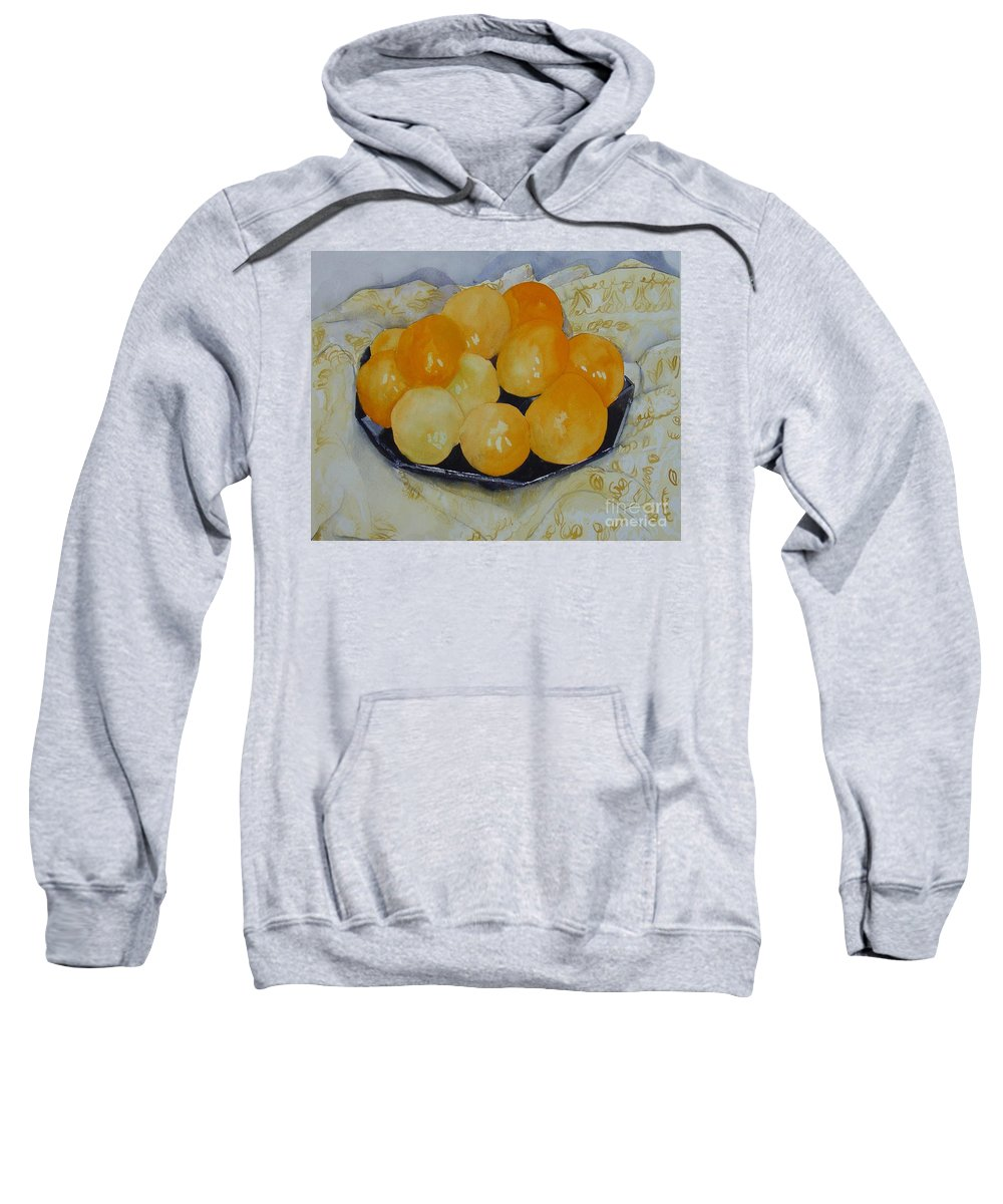 Still Life Watercolor Original Leilaatkinson Oranges Sweatshirt featuring the painting Oranges by Leila Atkinson