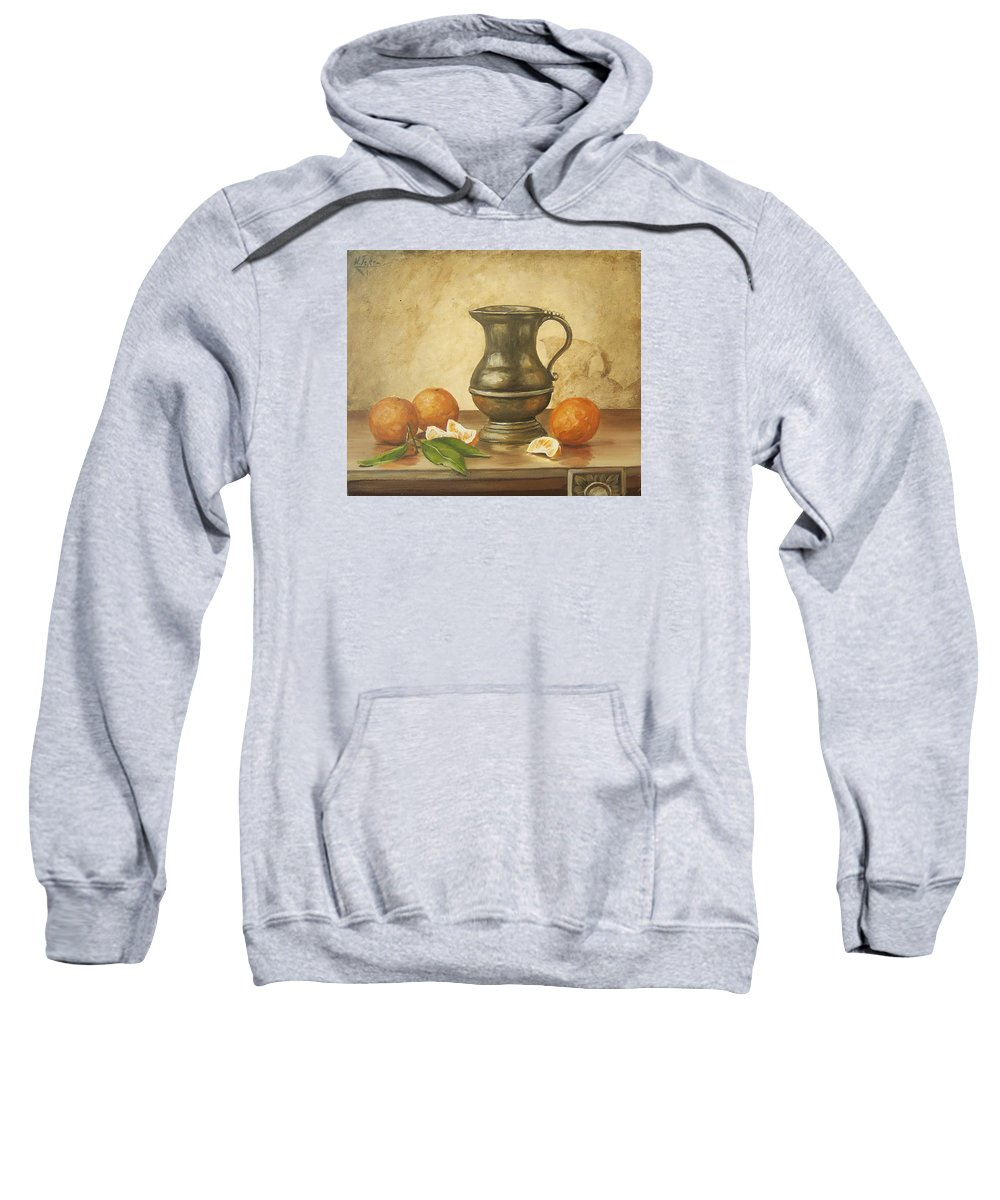 Still Life Sweatshirt featuring the painting Oranges by Natalia Tejera