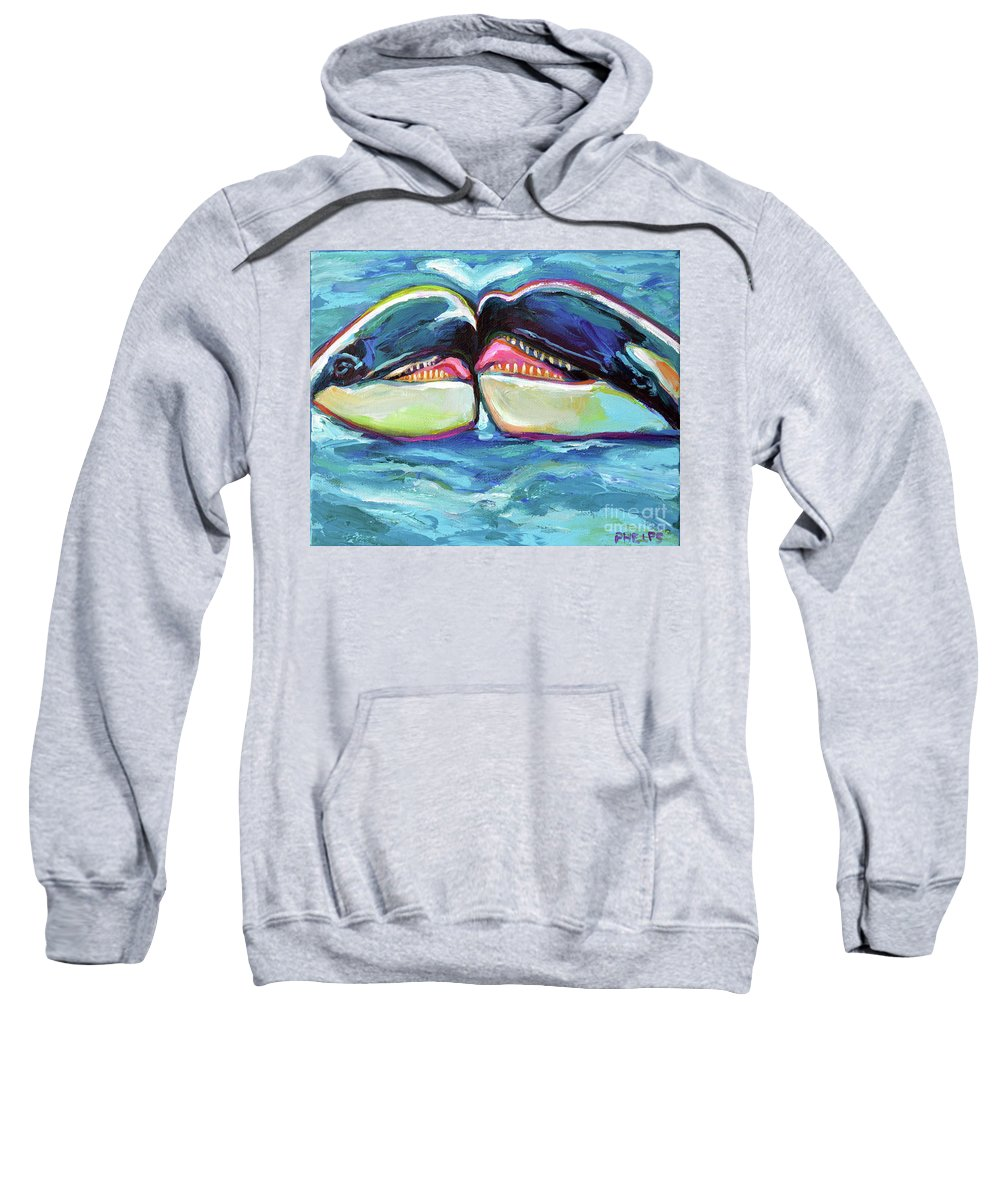 Orca Sweatshirt featuring the painting Orca Valentine by Robert Phelps