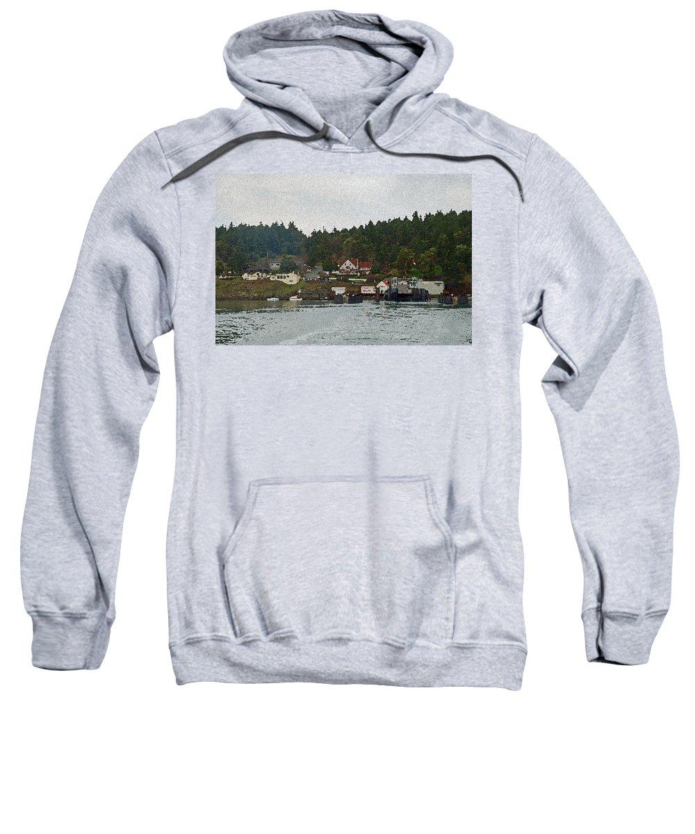 Orcas Sweatshirt featuring the photograph Orcas Island Dock by Carol Eliassen