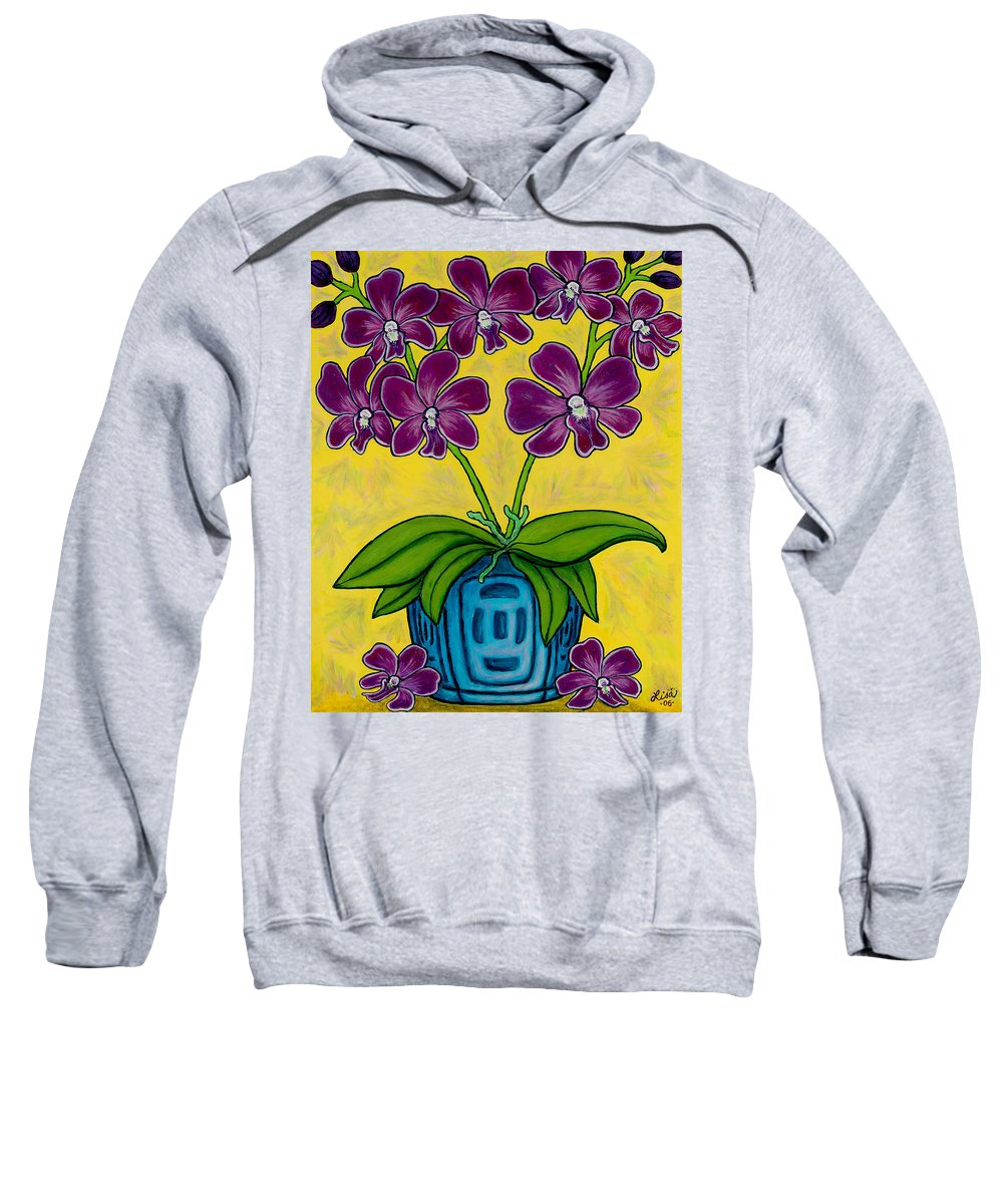Orchids Sweatshirt featuring the painting Orchid Delight by Lisa Lorenz